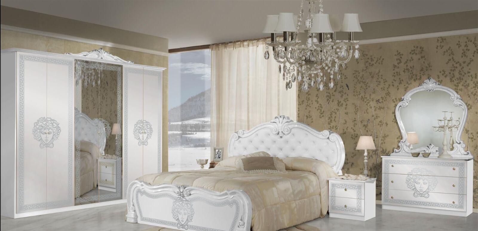 Vilma olasz hálószoba garnitúra, fehér-ezüst színben, 4 ajtós szekrénnyel és 160 cm-es ággyal