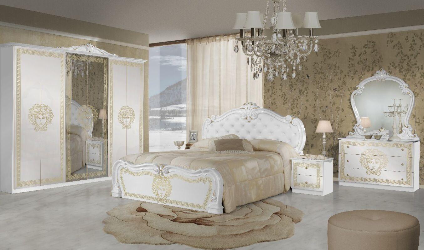 Vilma olasz hálószoba garnitúra, fehér-arany színben, 4 ajtós szekrénnyel és 160 cm-es ággyal