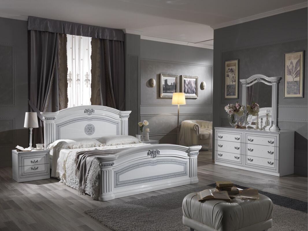 Alexandra hálószoba - fehér 160x200 cm ággyal, 4-ajtós szekrénnyel