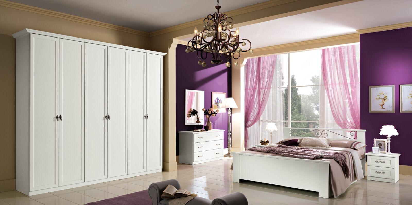 Dafne hálószoba - fehér 160x190 cm ággyal, 6-ajtós szekrénnyel