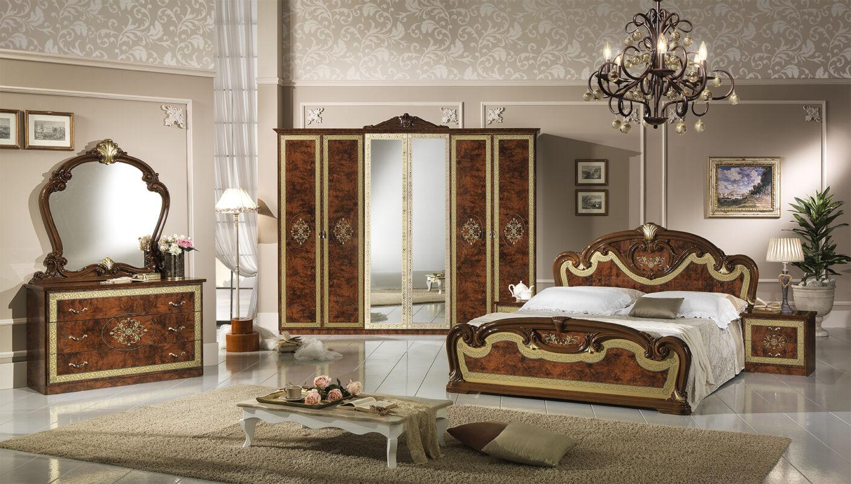 Natalie hálószoba - dió 160x200 cm ággyal, 6-ajtós szekrénnyel