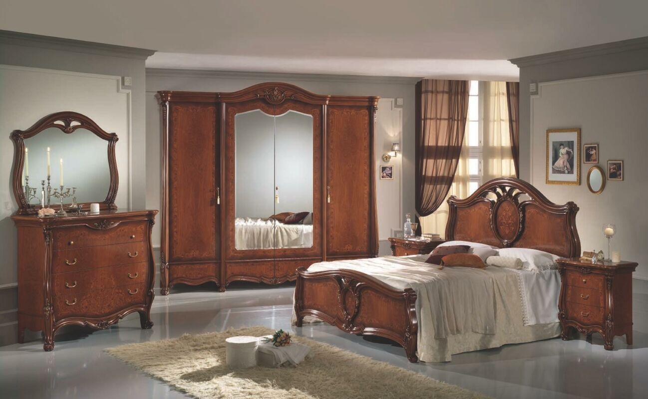 Sovrana hálószoba - dió 160x200 cm ággyal, 4-ajtós szekrénnyel