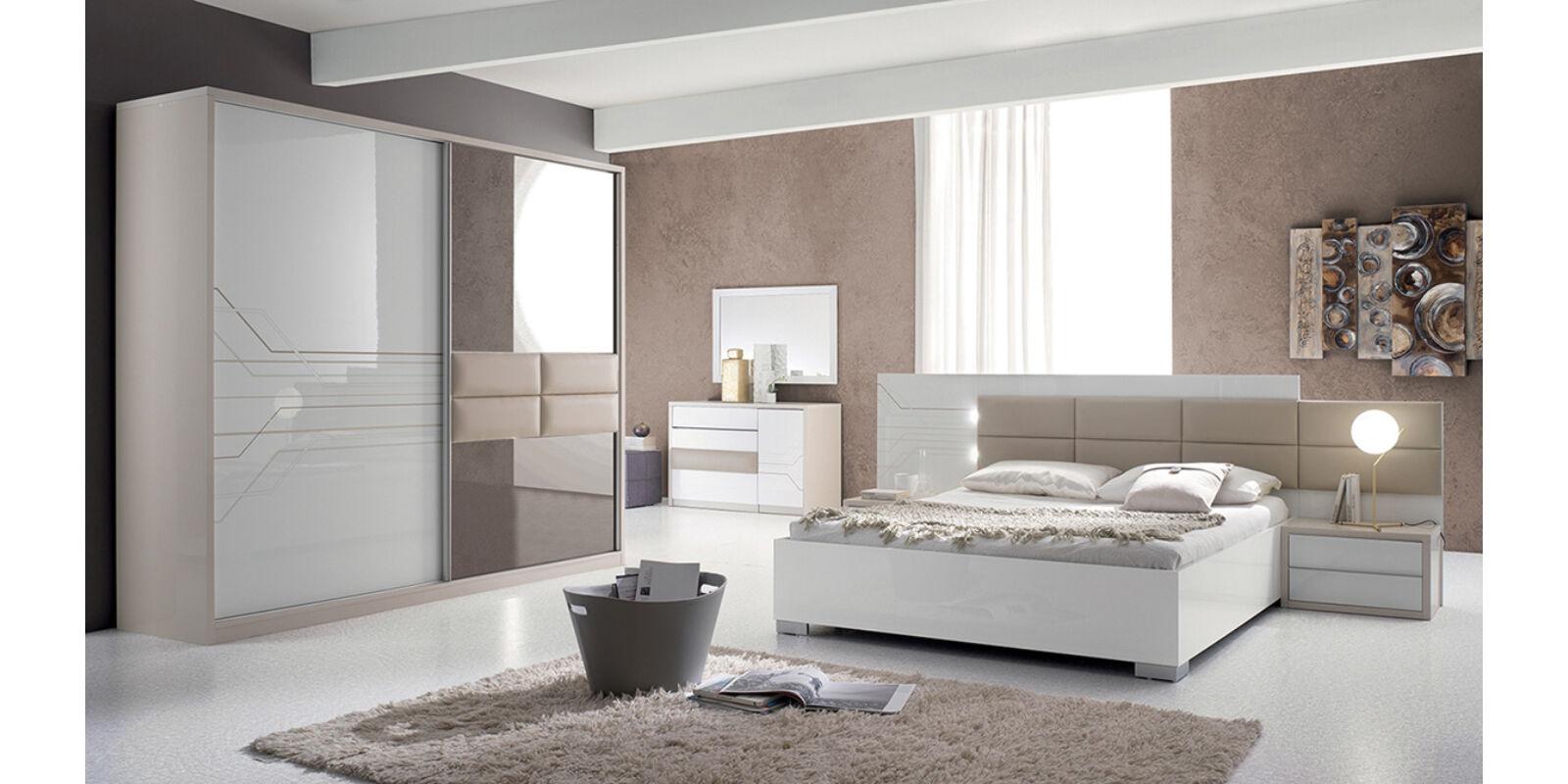 Italia Bútor - Tijana modern olasz hálószoba garnitúra, fehér-bézs ...