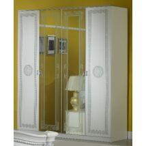 BC Serena 6-ajtós szekrény, 2 tükrös ajtóval - fehér-ezüst