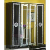 BC Serena 4-ajtós szekrény, 2 tükrös ajtóval - fekete-ezüst
