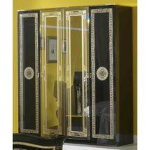BC Serena 4-ajtós szekrény, 2 tükrös ajtóval - fekete-arany