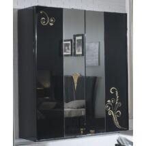 BC Sofia 3 tolóajtós szekrény, 1 tükrös ajtóval - fekete-arany