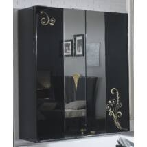 3 tolóajtós szekrény, 1 tükrös ajtóval - fekete-arany