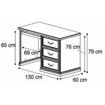 Nostalgia íróasztal 3 fiókkal (dió)