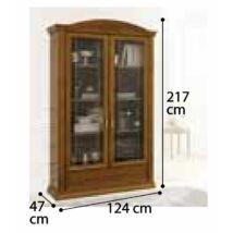 Siena 2 üvegajtós könyvszekrény (elefántcsontszín)