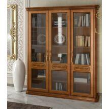 Torriani könyvszekrény 3 üvegajtóval, 4 fa polccal (dió)