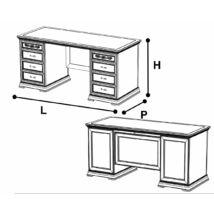 Torriani íróasztal kétoldalt fiókos résszel, fazettás hátoldallal (elefántcsontszín)