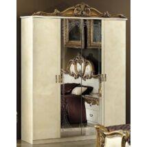 Barocco 4-ajtós szekrény, 2 tükrös ajtóval - bézs, arany díszítéssel