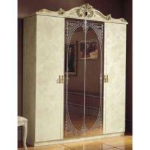 Barocco 4-ajtós szekrény, 2 tükrös ajtóval - bézs