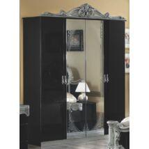 Barocco 4-ajtós szekrény, 2 tükrös ajtóval - fekete-ezüst