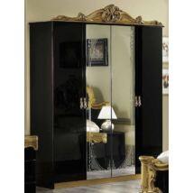 Barocco 4-ajtós szekrény, 2 tükrös ajtóval - fekete-arany