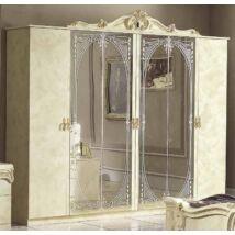 Barocco 6-ajtós szekrény, 4 tükrös ajtóval - bézs