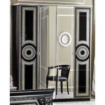 Aida 4-ajtós szekrény, 2 tükrös ajtóval - fekete-ezüst