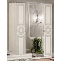 Aida 4-ajtós szekrény, 2 tükrös ajtóval - fehér-ezüst