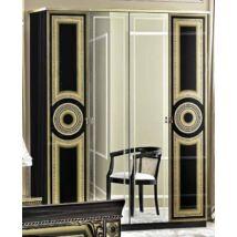 Aida 4-ajtós szekrény, 2 tükrös ajtóval - fekete-arany