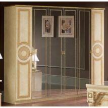 Aida 6-ajtós szekrény, 4 tükrös ajtóval - bézs