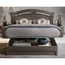 Franciaágy keret ágyneműtartóval, alacsony lábvéggel - ezüst nyír
