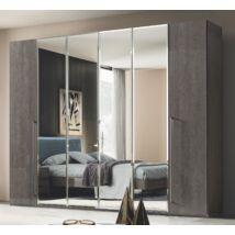 6-ajtós szekrény, 4 tükrös ajtóval - ezüst nyír