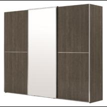 3 tolóajtós szekrény, 1 tükrös ajtóval - ezüst nyír