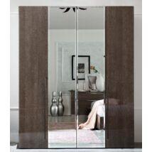 4-ajtós szekrény, 2 tükrös ajtóval - ezüst nyír