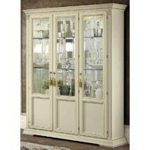 Treviso Day 3-ajtós vitrines szekrény üvegpolcokkal - fehér kőris