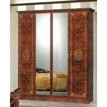 DI Amalfi 4-ajtós szekrény, 2 tükrös ajtóval - dió