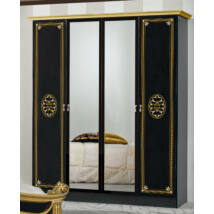 DI Amalfi 4-ajtós szekrény, 2 tükrös ajtóval - fekete-arany