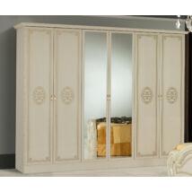 DI Amalfi 6-ajtós szekrény, 2 tükrös ajtóval - bézs