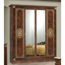 DI Kate 6-ajtós szekrény, 2 tükrös ajtóval - dió