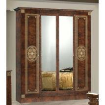 4-ajtós szekrény, 2 tükrös ajtóval - dió
