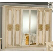 DI Kate 6-ajtós szekrény, 2 tükrös ajtóval - bézs