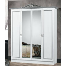 DI Lara 4-ajtós szekrény, 2 tükrös ajtóval - fehér-ezüst