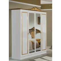 DI Lara 4-ajtós szekrény, 2 tükrös ajtóval - fehér-arany