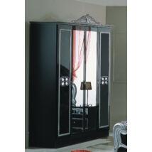 DI Lara 4-ajtós szekrény, 2 tükrös ajtóval - fekete-ezüst