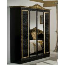 DI Lara 4-ajtós szekrény, 2 tükrös ajtóval - fekete-arany