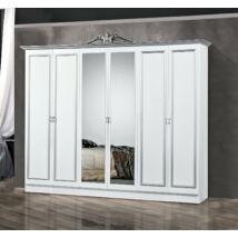 DI Lara 6-ajtós szekrény, 2 tükrös ajtóval - fehér-ezüst