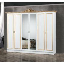DI Lara 6-ajtós szekrény, 2 tükrös ajtóval - fehér-arany