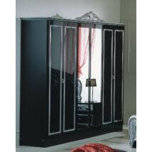 DI Lara 6-ajtós szekrény, 2 tükrös ajtóval - fekete-ezüst