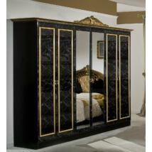 DI Lara 6-ajtós szekrény, 2 tükrös ajtóval - fekete-arany
