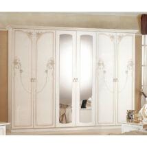 DI Lory 6-ajtós szekrény, 2 tükrös ajtóval - bézs