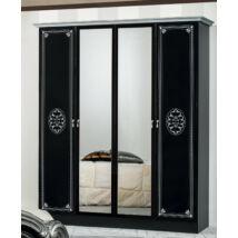 DI Lucy 4-ajtós szekrény, 2 tükrös ajtóval - fekete-ezüst