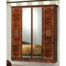 DI Lucy 4-ajtós szekrény, 2 tükrös ajtóval - dió