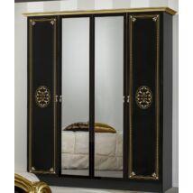 DI Lucy 4-ajtós szekrény, 2 tükrös ajtóval - fekete-arany
