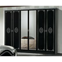DI Lucy 6-ajtós szekrény, 2 tükrös ajtóval - fekete-ezüst