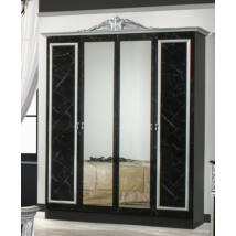 DI Marwa 4-ajtós szekrény, 2 tükrös ajtóval - fekete-ezüst